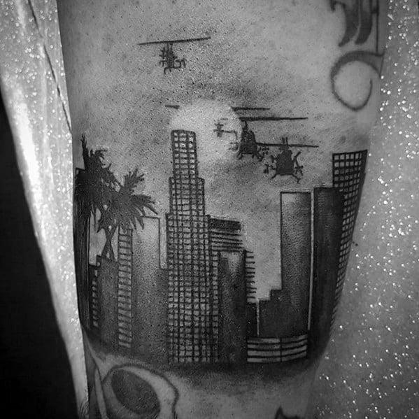 Mens Los Angeles Skyline Tattoo Ideas On Arm