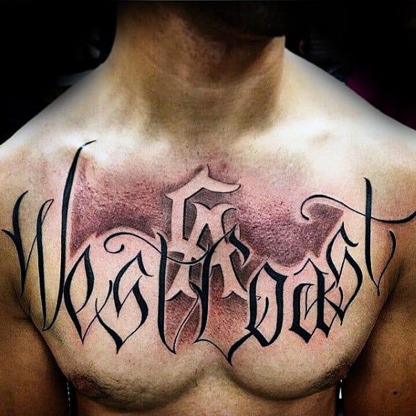Mens Los Angeles West Coast Script Chest Tattoo