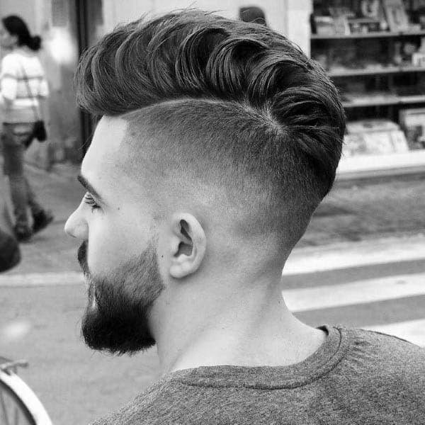 Mens Low Fade Shaved Side Medium Haircut Ideas