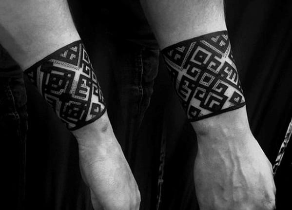 Mens Lower Forearm Black Ink Pattern Band Tattoo Designs