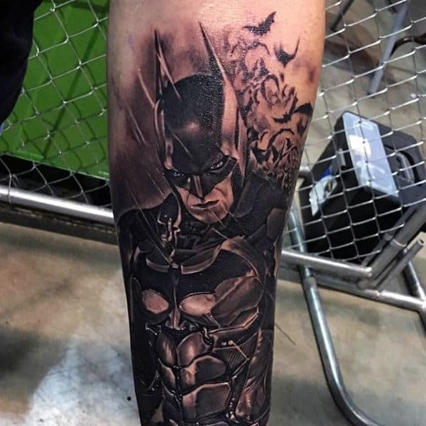 Mens Lower Leg Batman Black And Grey Tattoos
