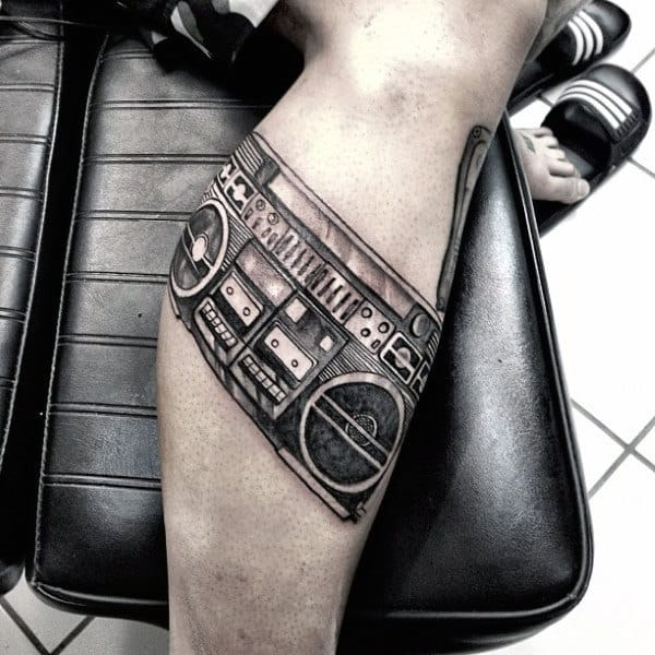 Mens Lower Leg Boombox Tattoos