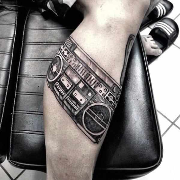 Mens Lower Leg Boombox Tattoos