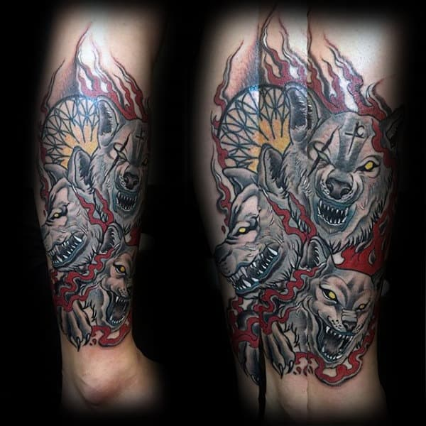 Mens Lower Leg Cerberus Tattoos
