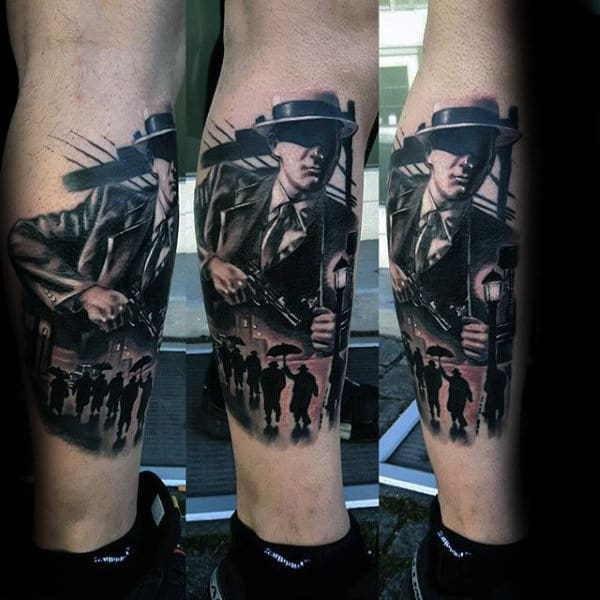 Mens Lower Leg Gangsters Tattoo