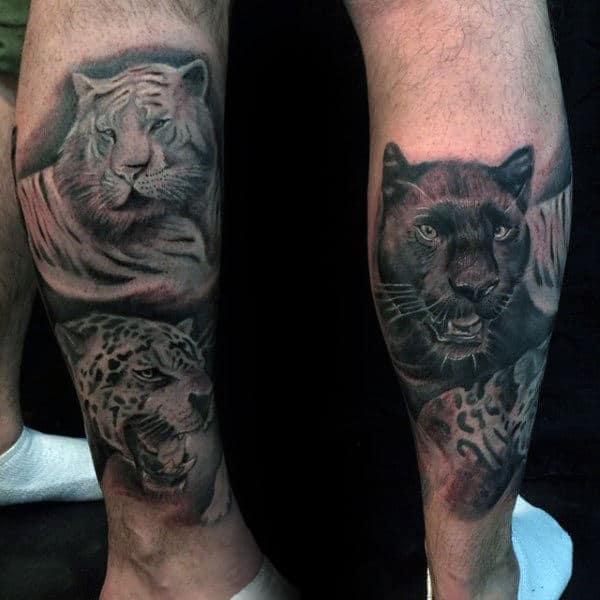 Mens Lower Leg Leopard Big Cat Tattoo Designs