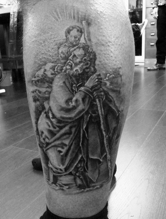 Mens Lower Leg Saint Christopher Shaded Tattoos