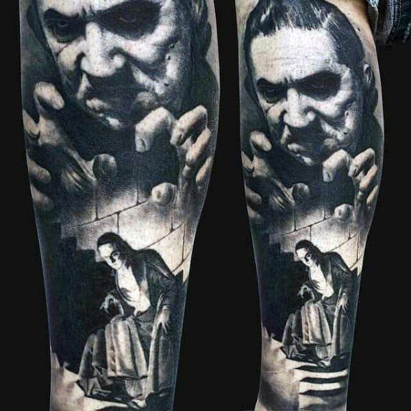Mens Lower Leg Scary Man On Wall Realism Tattoo