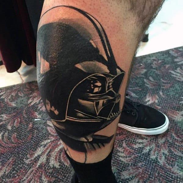Mens Lower Legs Darth Vader Tattoo