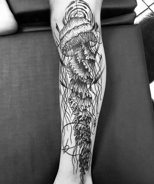 Mens Lower Legs Gray Jellyfish Tattoo