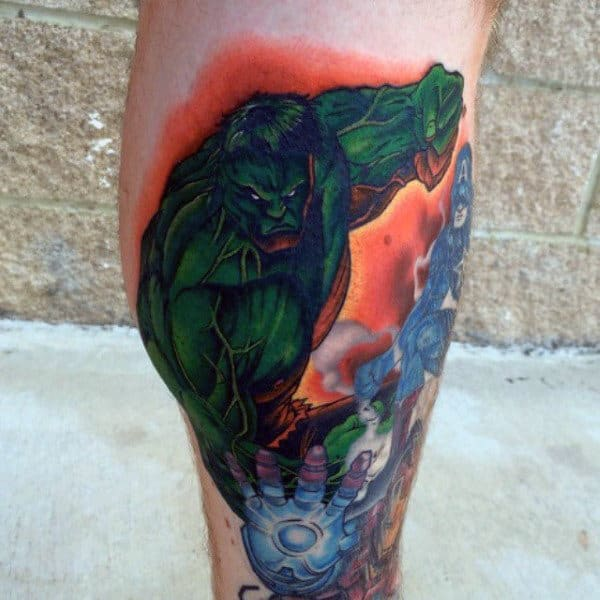 Mens Lower Legs Greenish Hulk Tattoo