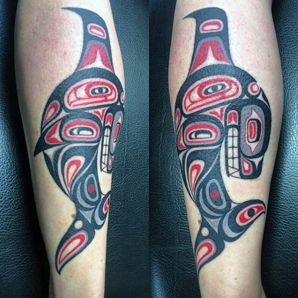 Mens Lower Legs Haida Tattoos