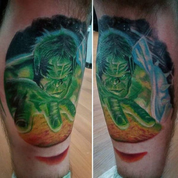 Mens Lower Legs Hulk Tattoo