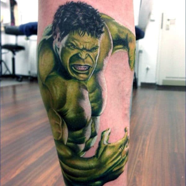 Mens Lower Legs Insane Hulk Tattoo