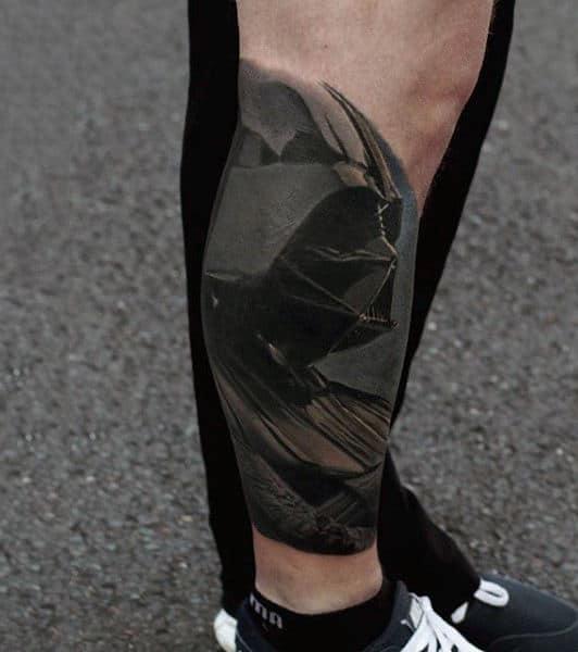 Mens Lower Legs Shiny Black Darth Vader Tattoo