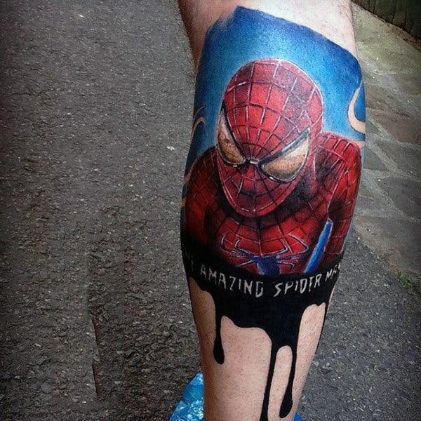 Mens Lowerlegs Amazing Spiderman Tattoo