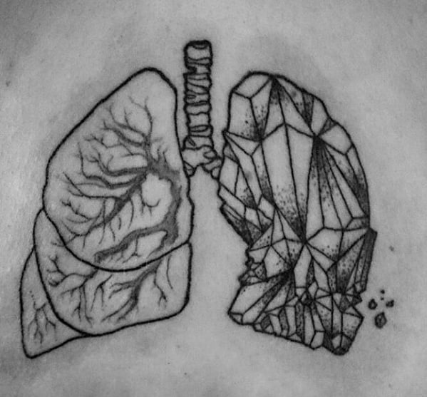 Mens Lung Geometric Crystal Back Tattoo Ideas
