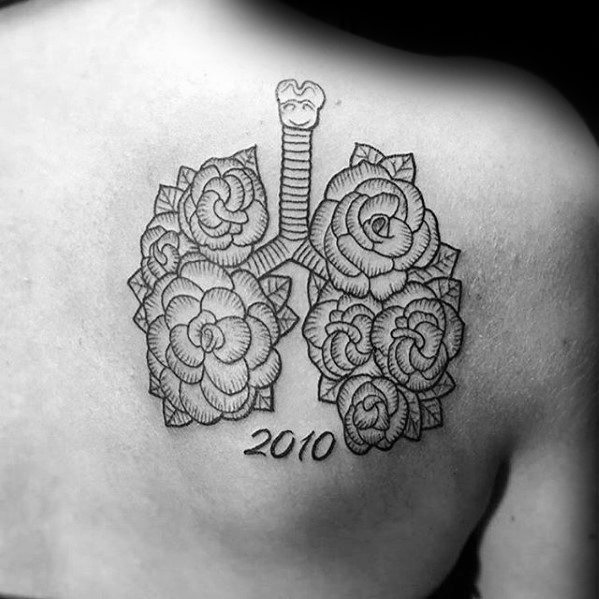 Mens Lung Memorial Shoulder Blade Tattoo Design Ideas