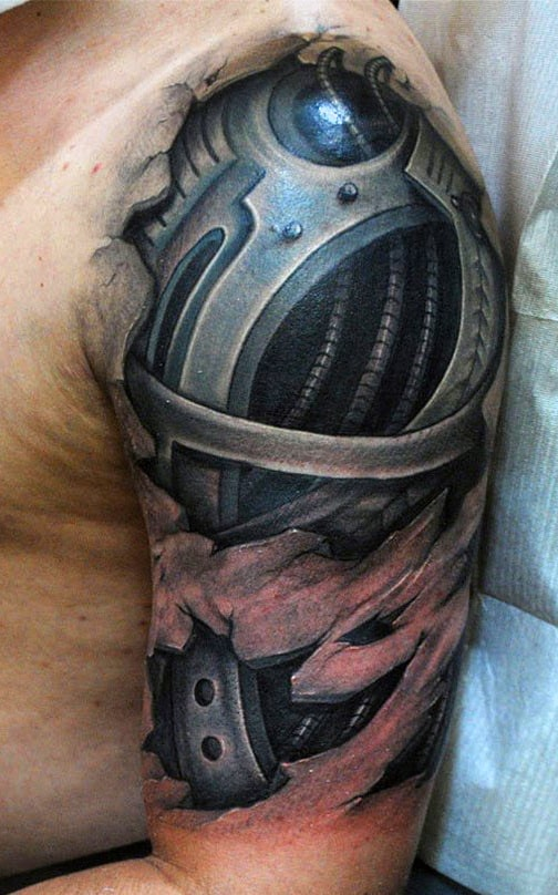 Men's Machine Half Upper Arm Tattoos
