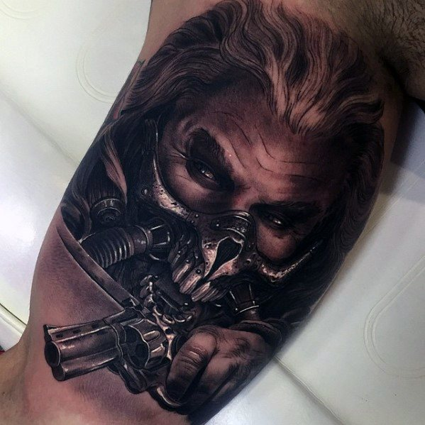 Mens Mad Max Inner Arm Bicep 3d Tattoo Ideas