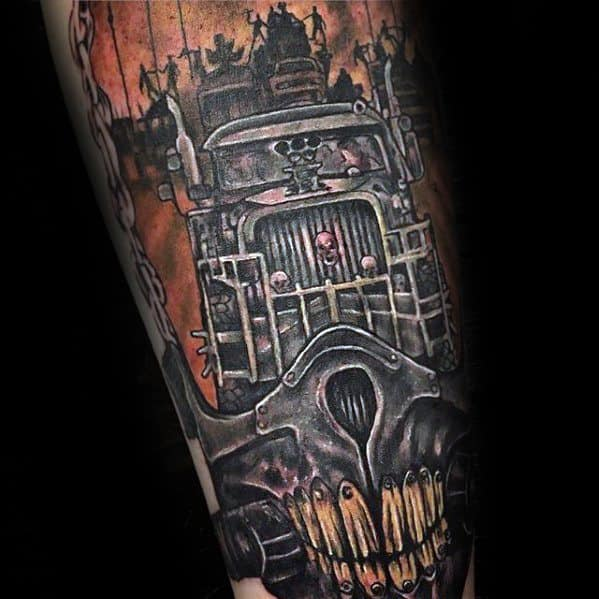 Mens Mad Max Truck Tattoo Design Inspiration On Leg
