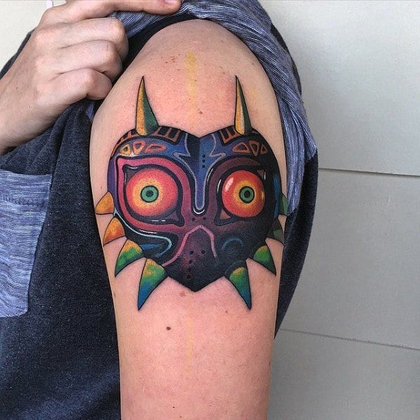 Mens Majoras Mask Tattoo Design Inspiration On Upper Arm