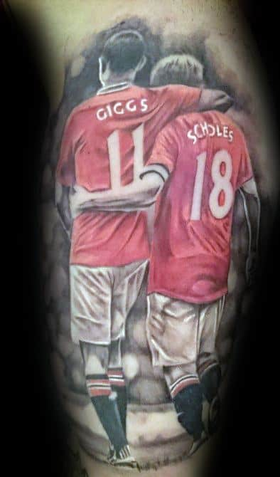 Mens Manchester United Soccer Players Leg Tattoo Design Inspiration
