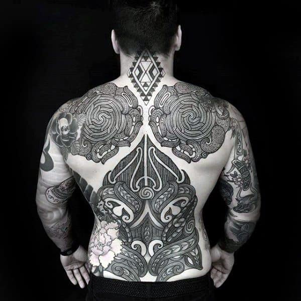 Mens Manly Awesome Tribal Tattoo Designs Full Back