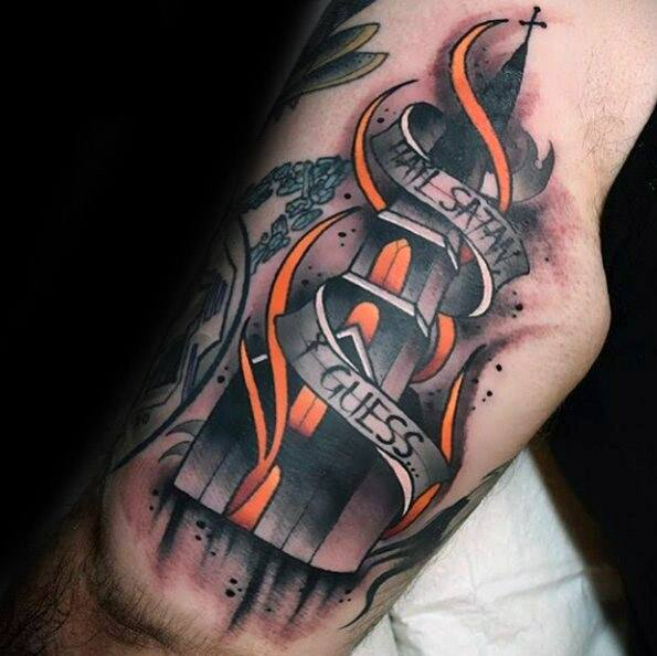Mens Manly Burning Church Tattoo Designs