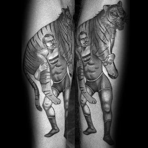 Mens Manly Circus Tiger Forearm Tattoo Designs