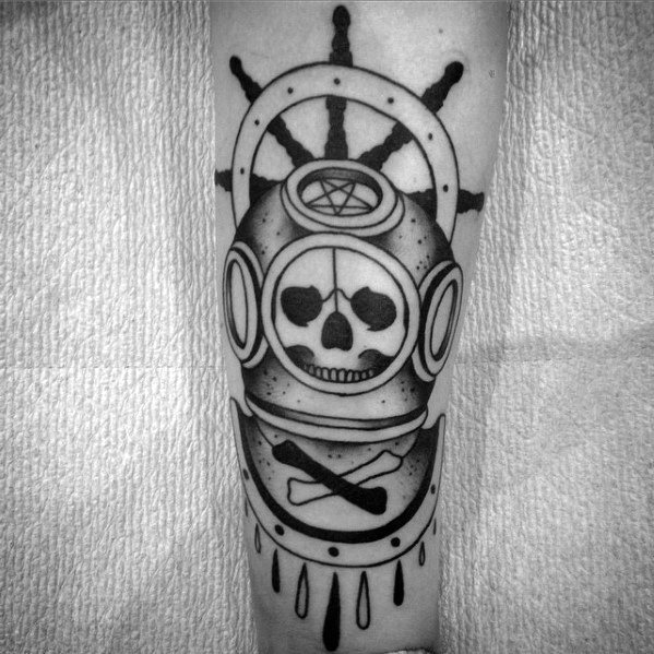 Mens Manly Diving Helmet With Skull And Ship Wheel Forearm Tattoo Designs