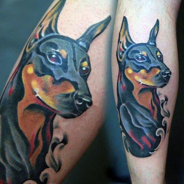 Mens Manly Doberman Tattoo Designs