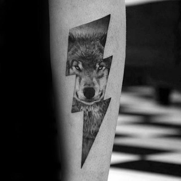 Mens Manly Sick Wolf Thunder Bolt Forearm Tattoo Designs