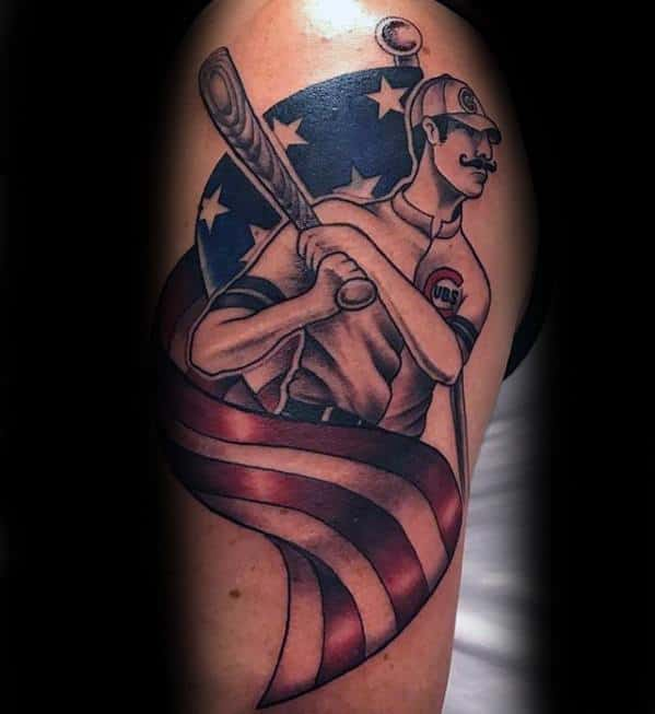 Mens Manly Traditional Baseball Player With Bat Arm Chicago Cubs Tattoo Designs