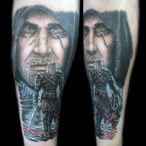 Mens Manly Witcher Tattoo Designs
