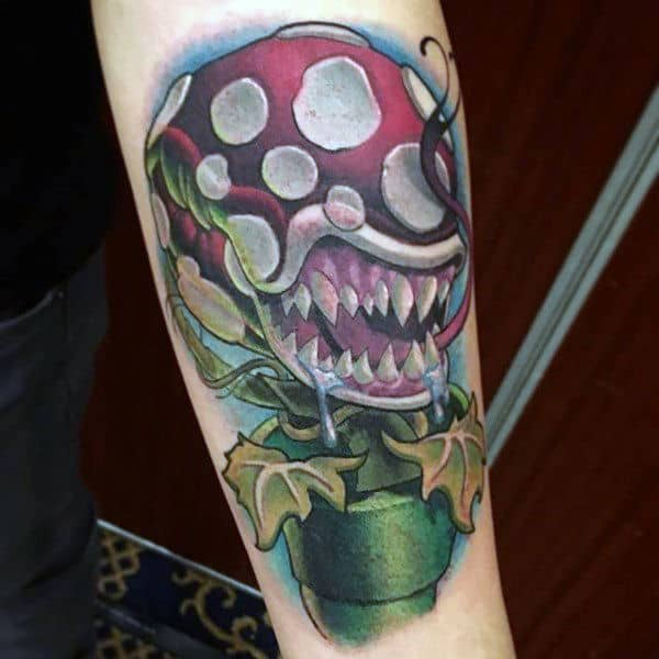 Mens Mario Plant Forearm Video Game Tattoos