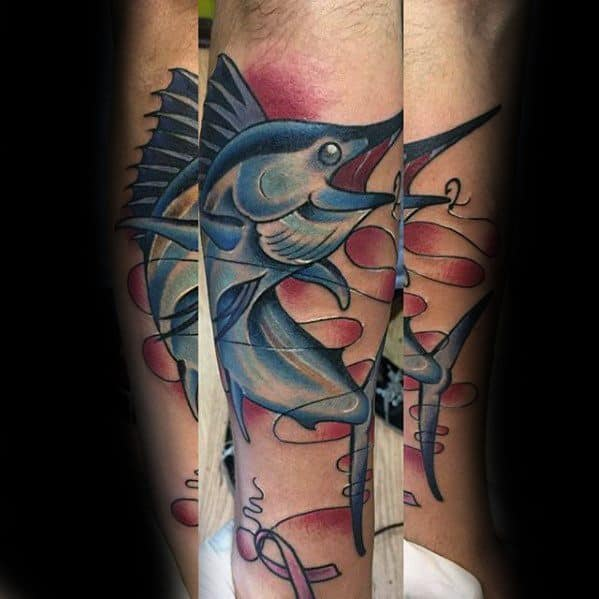 Mens Marlin Tattoo Ideas On Leg