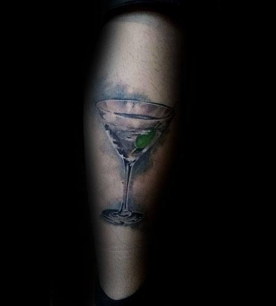 Mens Martini Glass Tattoo Designs