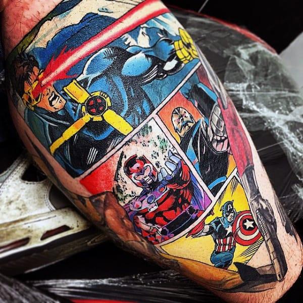 Mens Marvel Comic Strip Leg Calf Captain America Tattoo