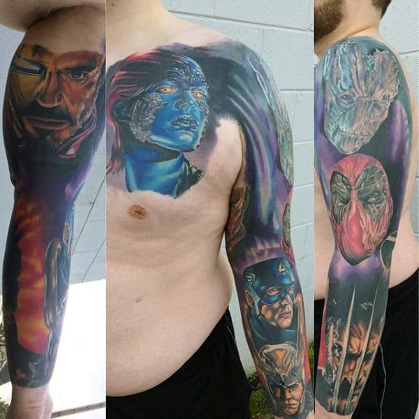 Mens Marvel Comics Superhero Themed Sleeve Tattoo With Wolverine