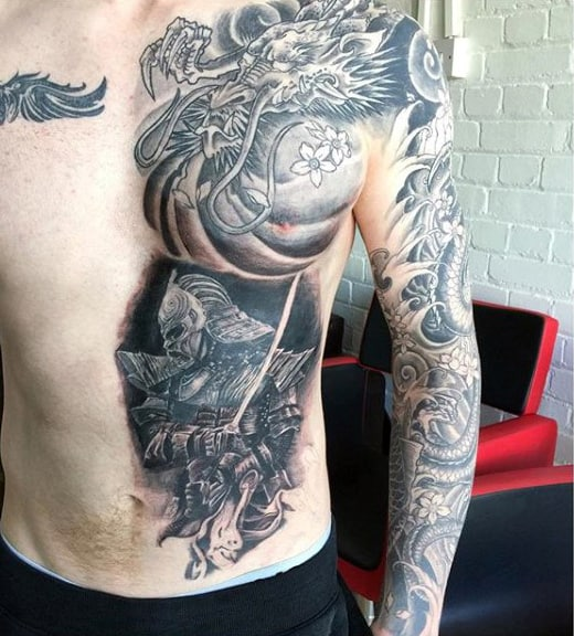 Mens Marvellous Warrior And Flora Tattoo Chest And Sleeves