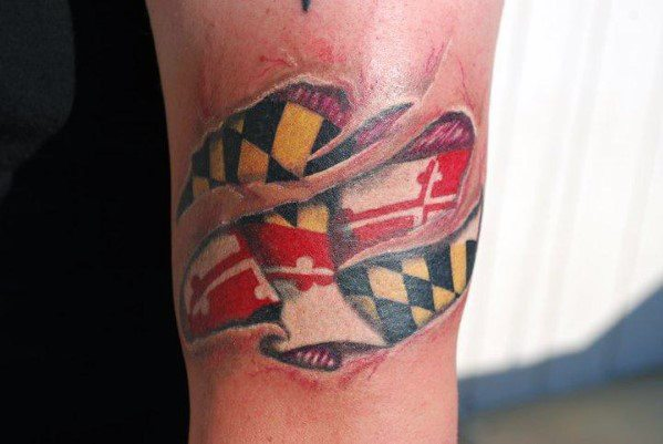 Mens Maryland Flag Tattoo Designs