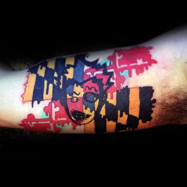 Mens Maryland Flag Tattoo Ideas