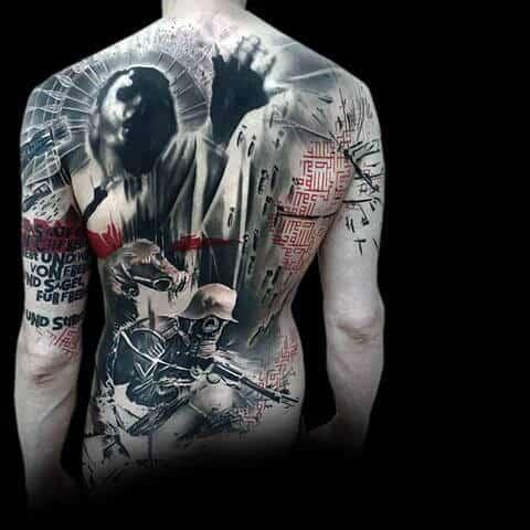 Mens Masculine Full Back Trash Polka Tattoo Ideas With Realistic Design