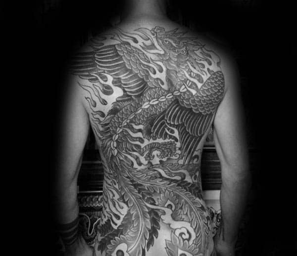 Mens Masculine Phoenix Flaming Bird Back Tattoo Design Ideas