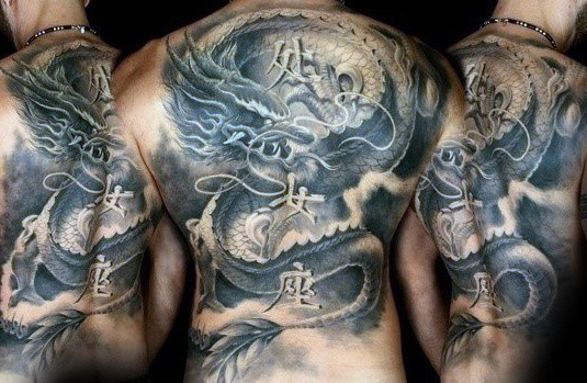 Mens Masculine Shaded Back Dragon Tattoo Ideas