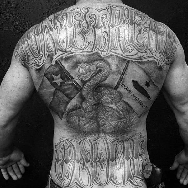 Mens Masculine Snake And Black Ink Full Back Tattoo