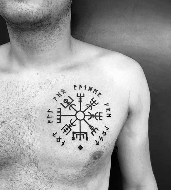 Mens Masculine Viking Compass Tattoo Design On Chest
