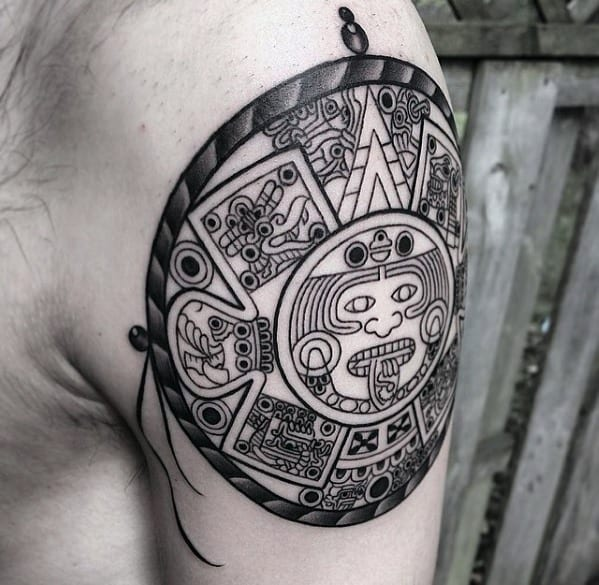 Mens Mayan Calender Tattoo Design Inspiration On Upper Arm