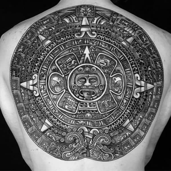 Mens Mayan Calender Tattoo Ideas Back Of Body